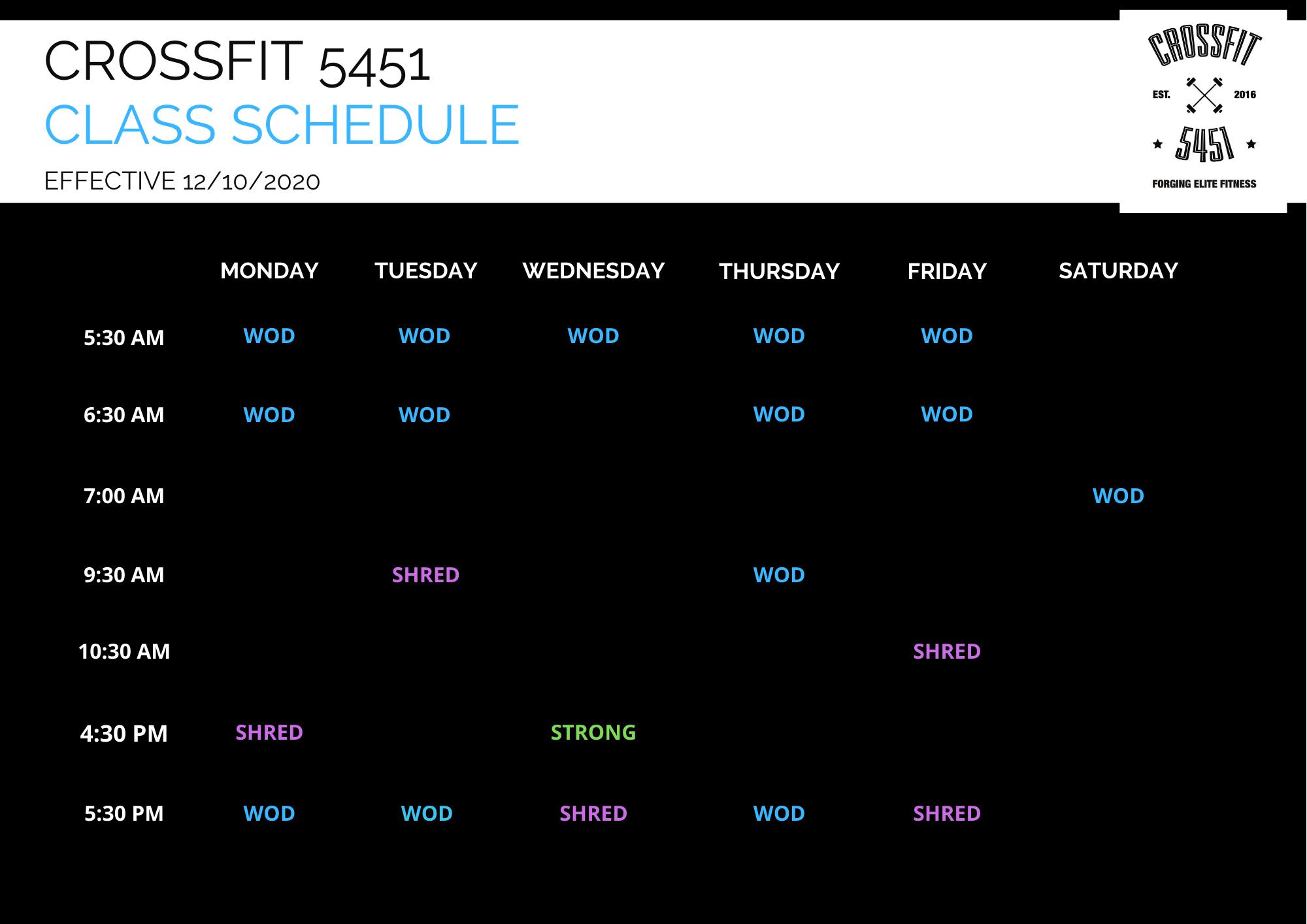 CF5451 Class Schedule 11.10.2020